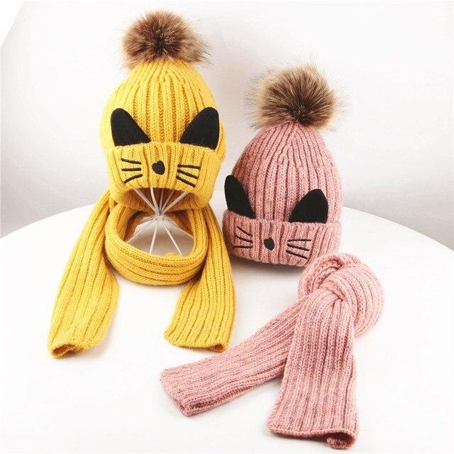 cf814ecef3d Winter Kids Baby Cat Hats Scarf Kids Baby Hat Baby Boy Girl Hair Ball  Earbud Hat Child Print Knit Hats +Scaf Girl Boy Caps PS-24
