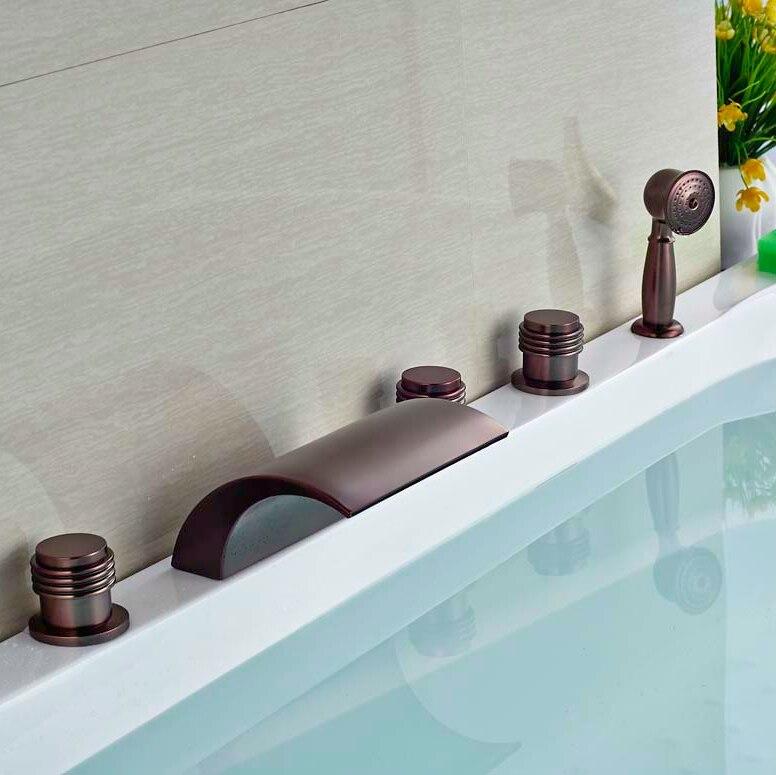 Deck Mounted Oil Rubbed Broze Tub Faucet Bathroom Tub 5pcs Faucet Hot&Cold Faucet