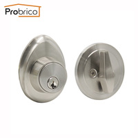 Probrico Single Cylinde Dead bolts Interior Exterior Gate Locks Keyed Anti Theft Hardware Oval Egg Shape Lockset Brushed Nickel