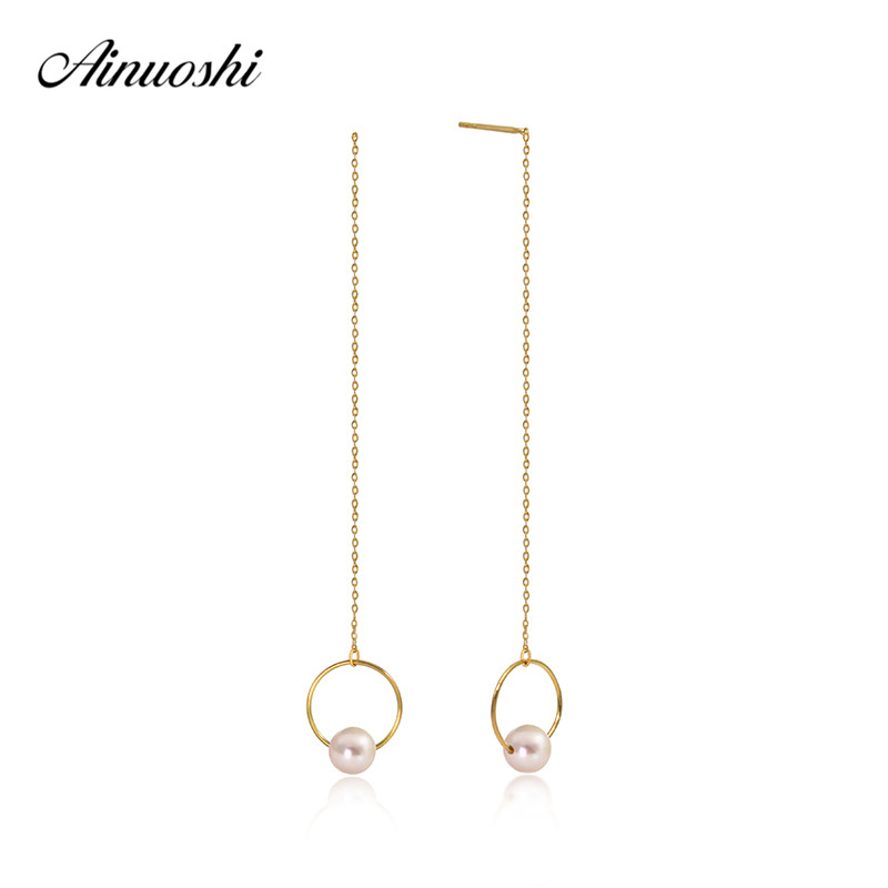 AINUOSHI 18K Yellow Gold Ear Line Hoop Earing Natural Freshwater White Pearl Drop Dangle Earrings Chain Earrings for Women Girl michel chevalier luxury retail management how the world s top brands provide quality product and service support