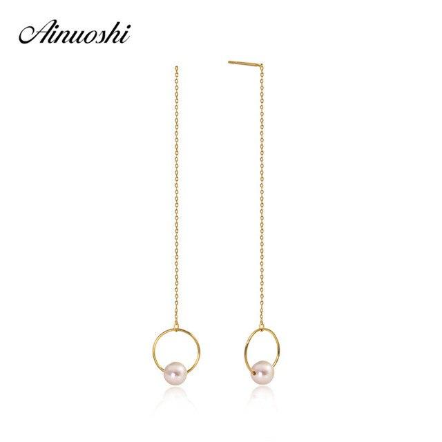 Ainuoshi 18k Yellow Gold Ear Line Hoop Earing Natural Freshwater White Pearl Drop Dangle Earrings Chain For Women