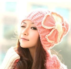 Brand Winter Skullies Women Crochet Woolly Flower Earflap Beanie Hat Winter  Caps Pink knitted women Hat f3c25aedc