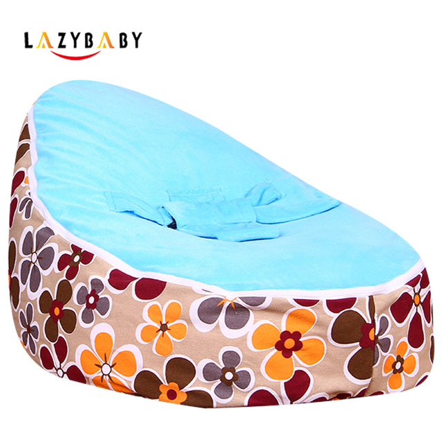 Lazybaby Medium Yellow Plum Flower Baby Bean Bag Chair Kids Bed For Sleeping Folding Newborn Babies