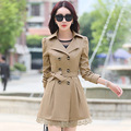 Fashion 2017 Autumn Double Breasted Long Trench Coat For Women Plus Size  Lace Outwear Slim Coats Famale M- 3XL S CQ075
