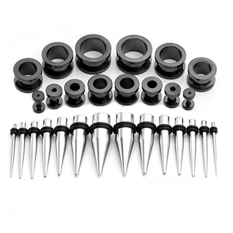 Stainless Steel Ear Stretching Taper and Screw Fit Tunnel Kit Black-Plated Ear Plug Gauges Body Jewelry 40 Pieces/Set 14G-000G