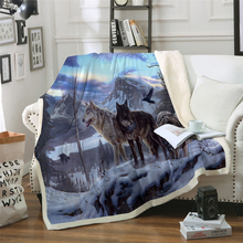 3D Blanket Snow Wolf Plush Throw Sofa Noble Bedspread Bed Blankets