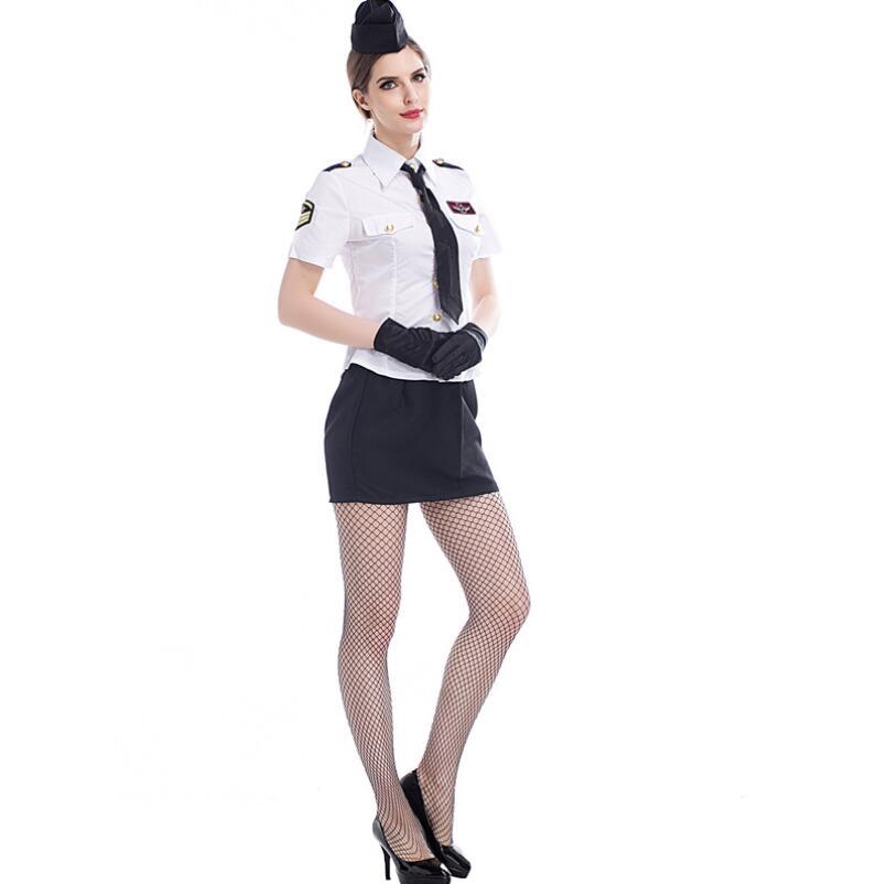 New Sexy Classic Women Navy Uniform Adult Police Costume -6956