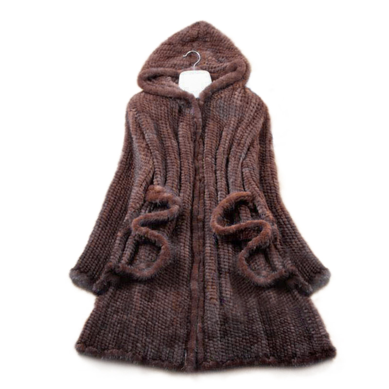 New Natural Mink Fur Winter Coat Women s Long sleeve Top Fashion All match Knitted Mink