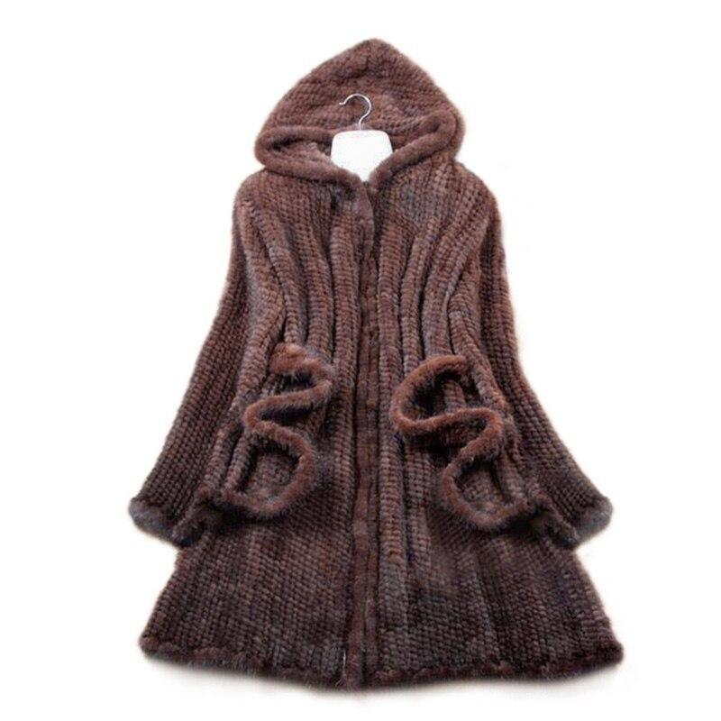 Nouveau Naturel De Fourrure De Vison Manteau D'hiver de Femmes à manches longues Top Mode Tout-Allumette Tricoté Vison Manteau Livraison gratuite
