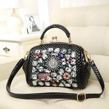Free shipping Japan Korea New fashion  Color diamond Shell clip chain Shoulder oblique handbag