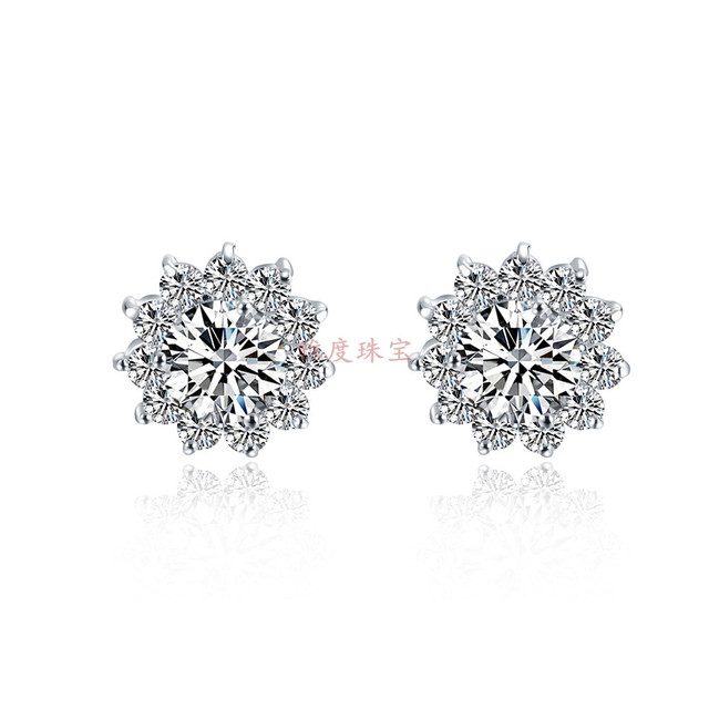 Sunflower 1ct Piece 925 Sterling Silver Jewelry Stud Earrings Synthetic Diamonds Engagement 585