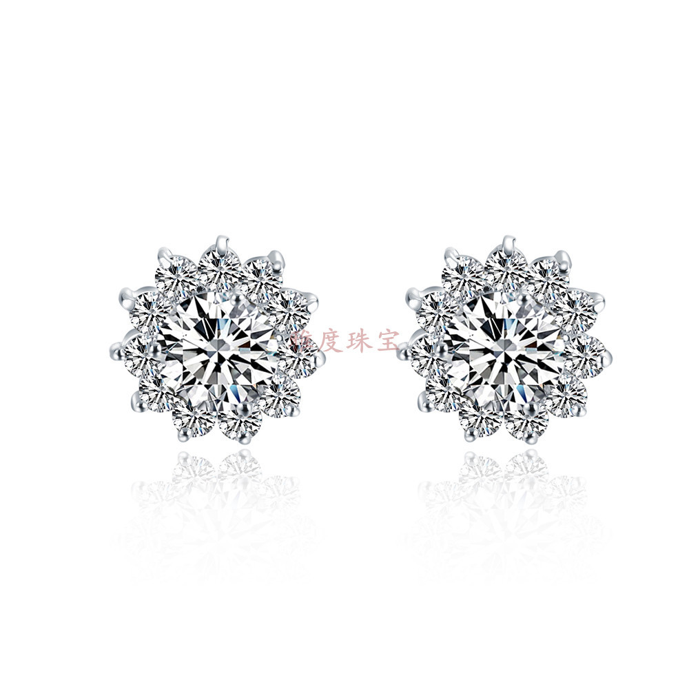 Piece 925 Sterling Silver Jewelry Stud Earrings Synthetic Diamond  Stud Earrings Engagement Platinum