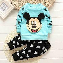 2015 новых мальчиков и девочек осенью и зимой одежда для ребенок милый мультфильм печатных Микки рубашка + брюки хлопок одежда