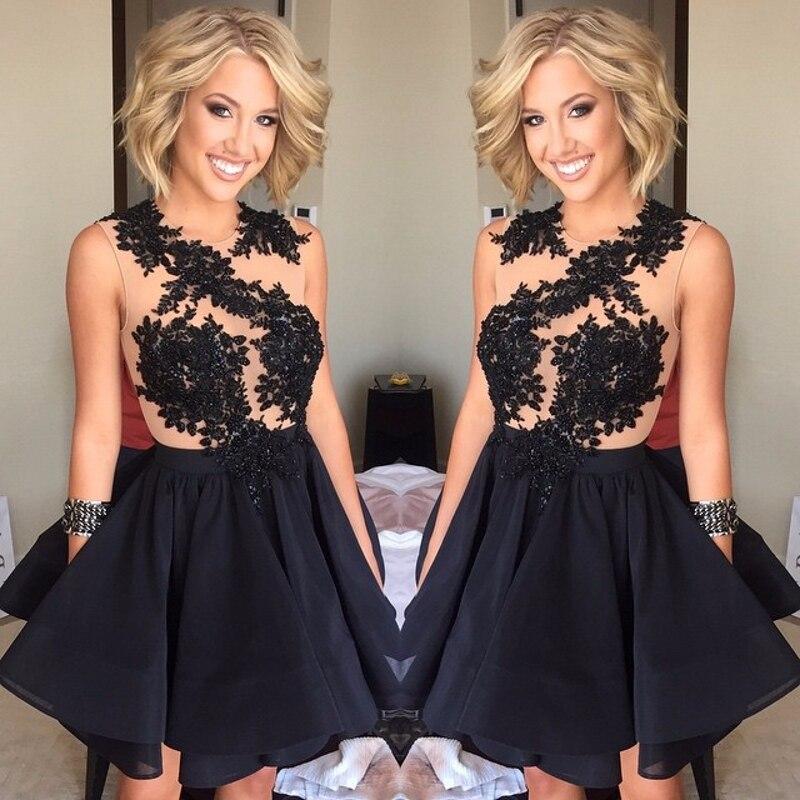 Negro sexy vestidos de cóctel de encaje corto a line de la gasa mujeres hermosas