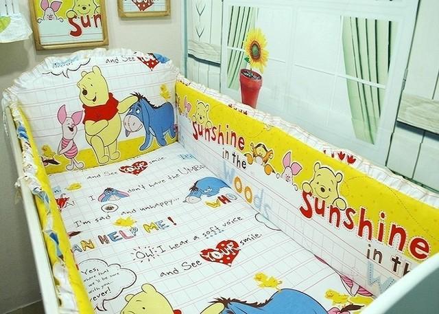 Promoción! 6 / 7 unids sistema del lecho del bebé cortina de algodón cuna parachoques cuna establece cuna parachoques, 120 * 60 / 120 * 70 cm
