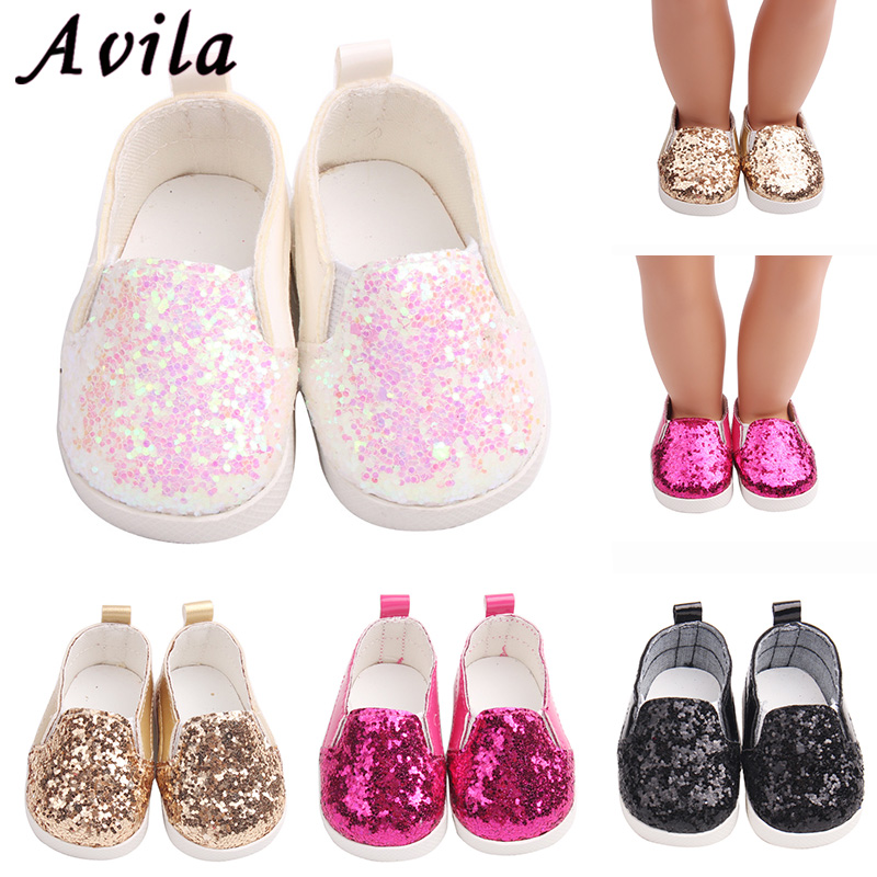 e043e790c608e US $1.07 24% OFF|Sequins sports boots 7cm shoes Fits 18 inch Doll 43CM  Dolls Reborn Baby Doll shoes for girl doll boots-in Dolls Accessories from  Toys ...