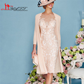 2016 Pink Lace Groom Mother of the Bride Dress with Jacket 3/4 Sleeve Beaded Applique Women Formal Evening Party Gown Pant Suit
