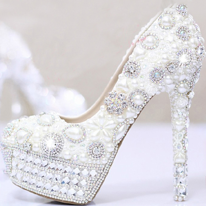 White Pearls Crystal Luxury Wedding Bridal Dress Shoes Closed Toe Prom Pumps Shoes Ultra High Heel Party Dress Shoes aidocrystal wite open toe pearls high heel shoes women bridal party shoes made in china