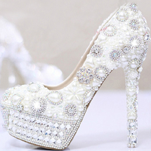White Pearls Crystal Luxury Wedding Bridal Dress Shoes Closed Toe Prom Pumps Shoes Ultra High Heel Party Dress Shoes