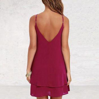 Lossky женское летнее шифоновое платье с открытой спиной, сексуальное мини-платье на бретельках, повседневные свободные платья, модное женское черное красное платье для девочек 6