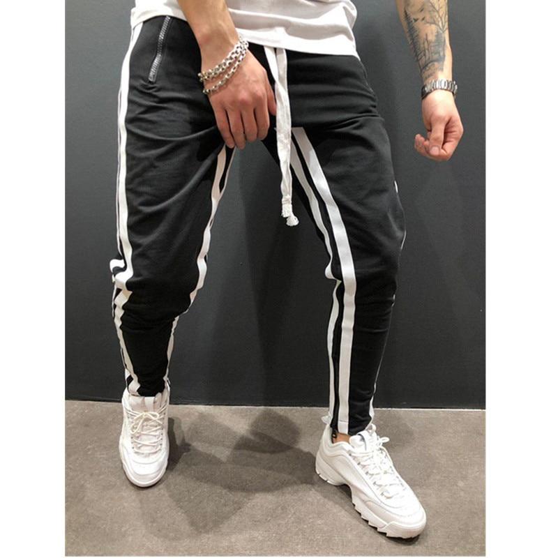 Новинка, европейские и американские мужские спортивные штаны для отдыха, фитнеса, на молнии, для бега, фитнеса, модные штаны - Цвет: Black white