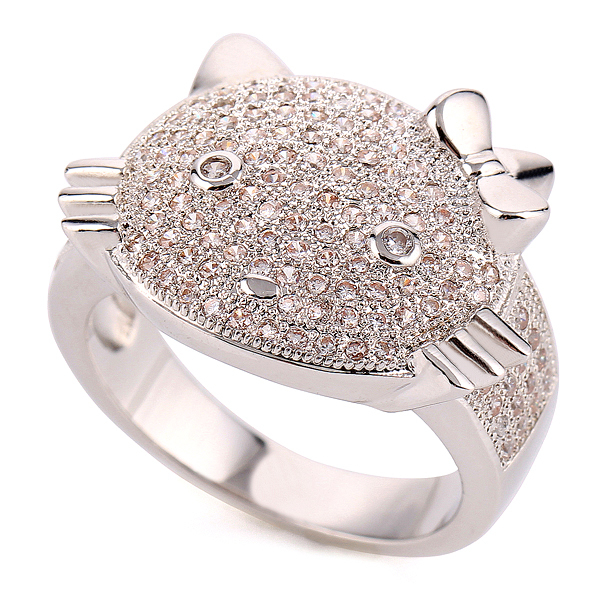 cute hello kitty ring white copper crystal jewelry rings for women