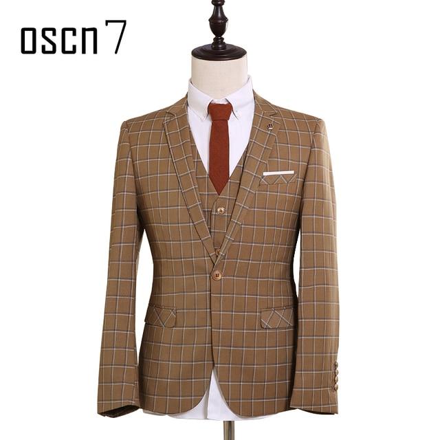 Aliexpress.com : Buy OSCN7 Brown Plaid Slim Fit Suit Men Custom ...