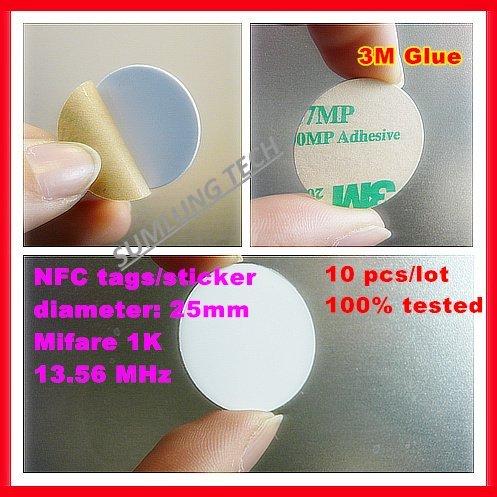 Free shipping(10pcs/Lot ) HF 13.56Mhz Nfc smart Stickers Blank Round PVC Smart Nfc tags(dia:25MM)
