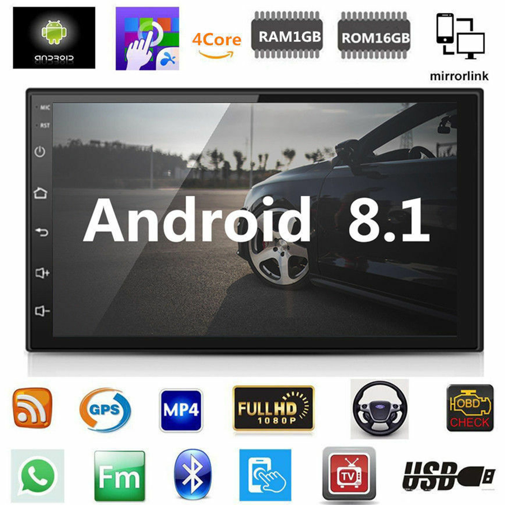 7 Inch HD WIFI Double Din MP5 Player Music Radio Car Multimedia Audio Bluetooth Online Android 8.1 GPS Navigation Mirror Link