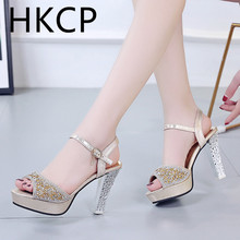 HKCP Fish mouth sandals for women 2019 summer new Korean edition sexy stiletto buckle comfort C080