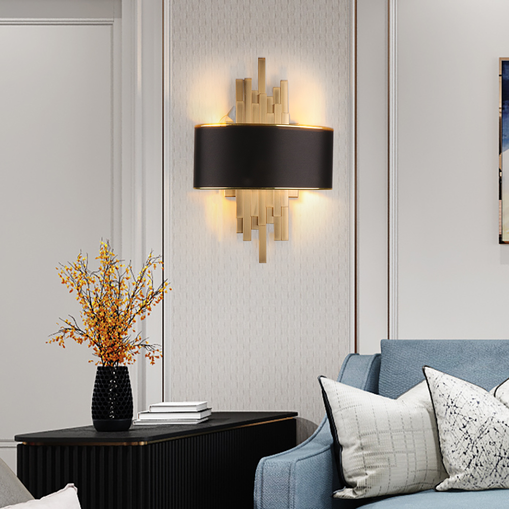 Gold Wall Sconces Lighting Fixtures Bedroom Living Room Black Lampshade Wall