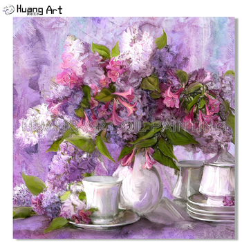 Professional Artist Handmade High Quality Purple Flower Oil Painting on Canvas Sweet Still Life Painting for Bedroom Decor