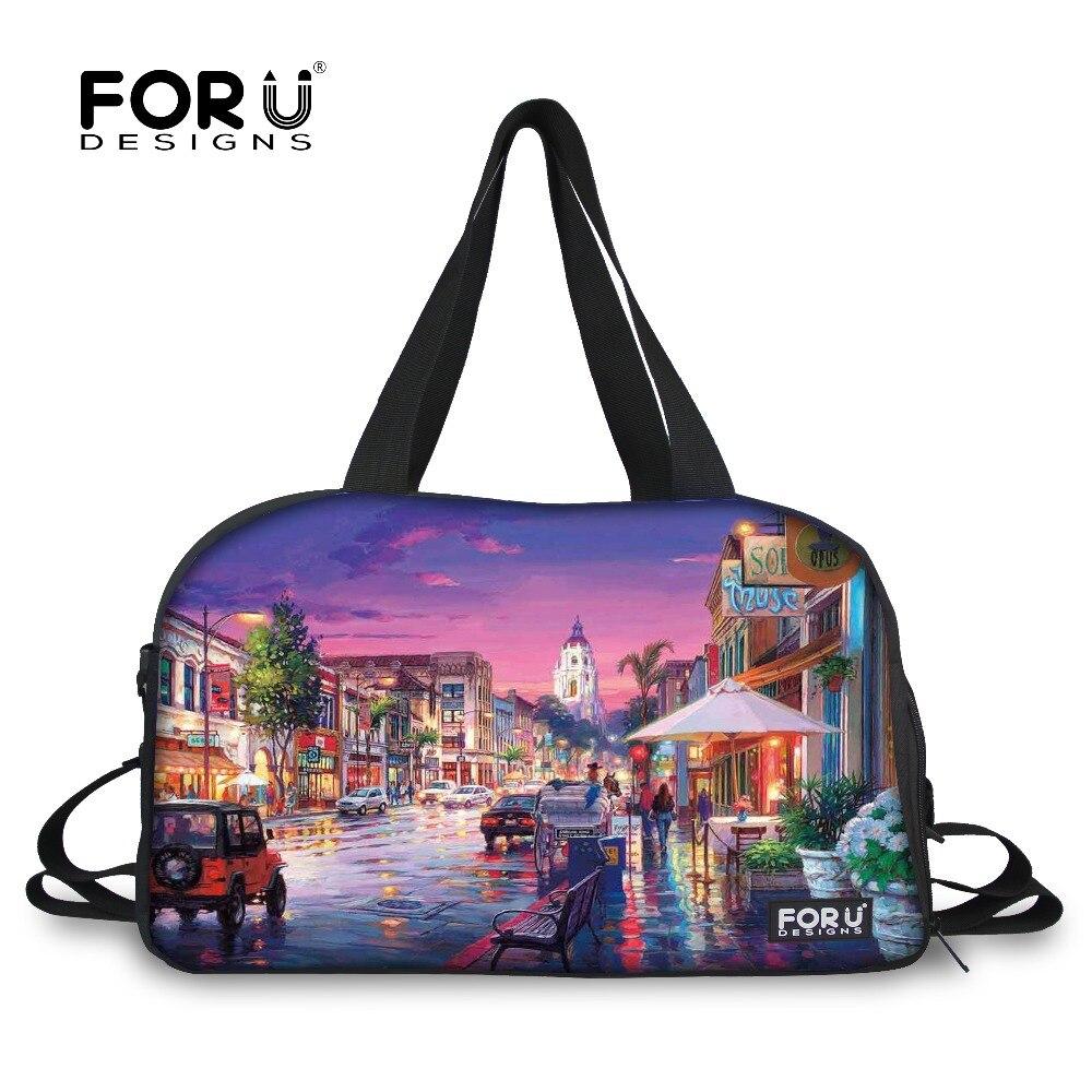 Mode hommes femmes voyage sacs venise paysage imprimé bagages sacs marque dames femme sac à main épaule toile sac FORUDESIGNS