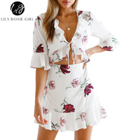 Lily Rosie Girl White Ruffles Short Flare Sleeve Women Mini Vestidos Sexy V Neck Crop Lace Up Dress Summer Boho Beach Dresses