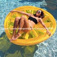 Comparar Gigante 60 pulgadas rodaja de limón Piscina flotador Lounge isla divertida fruta grande inflable juguetes flotantes playa amarillo Boia Piscina