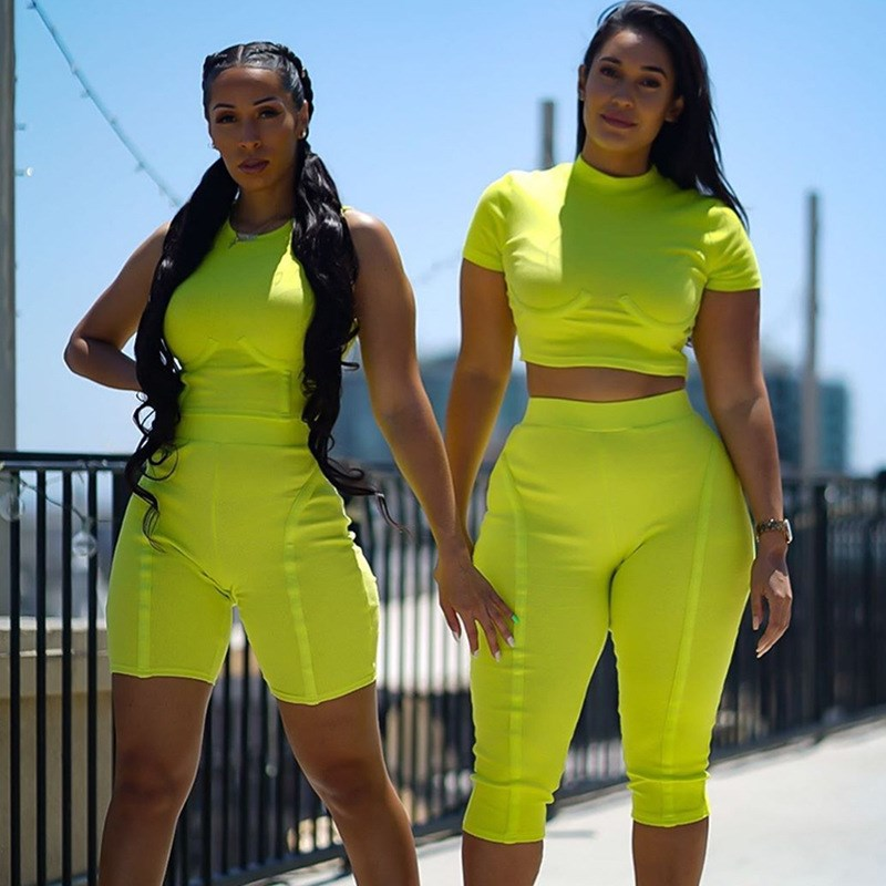 2019 Neon Green Two Piece Set Women Clothes Ribbed Knit Bodycon Sexy Matching Sets Fitness Crop Top Biker Shorts Set