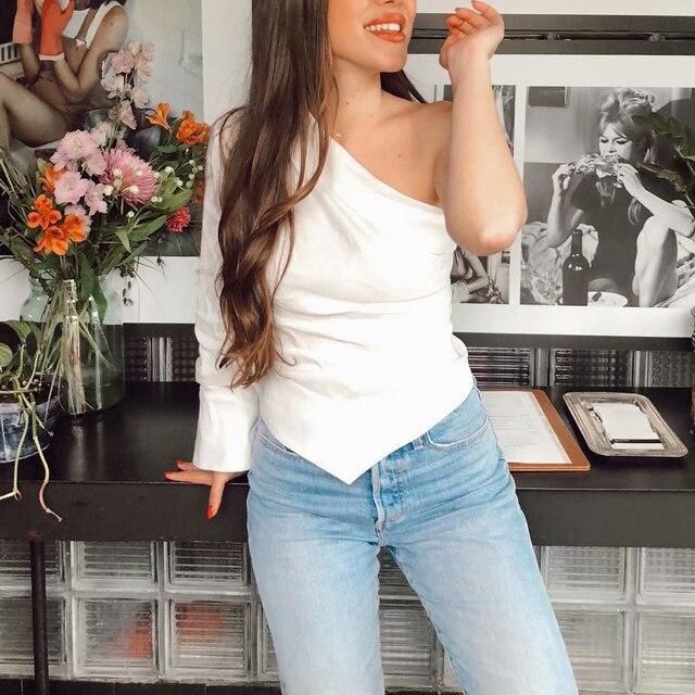 Women sexy one shoulder white blouse skew collar one sleeve irregular shirts female slim stylish tops blusas 3