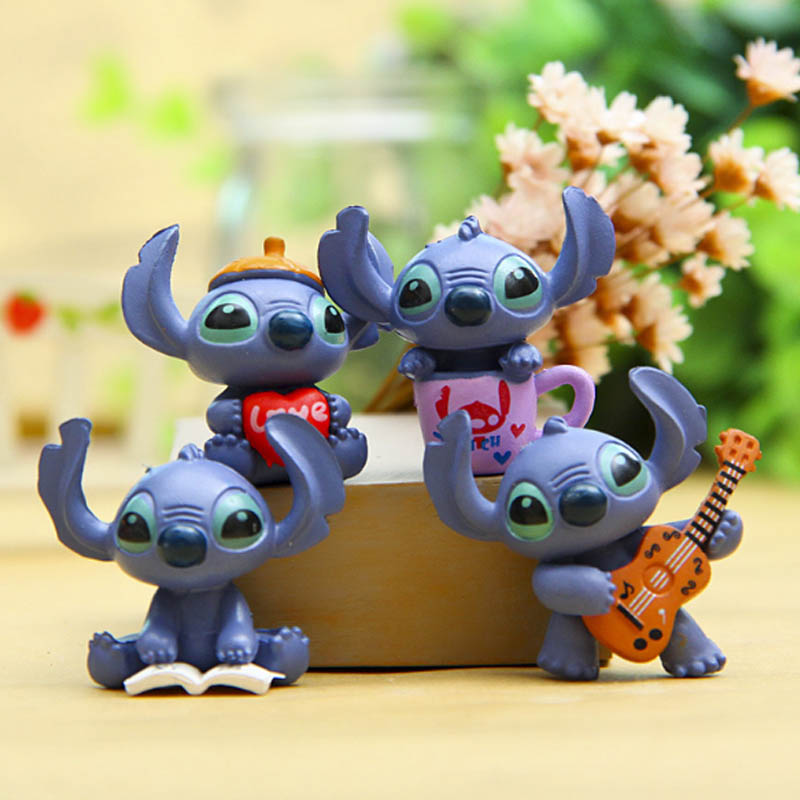 3.5 Cm Mini 4 Pcs Stitch Figure Toy Anime Stitch Action Figurines Christmas Gift And Dolls Home Party Supply Decoration Toys