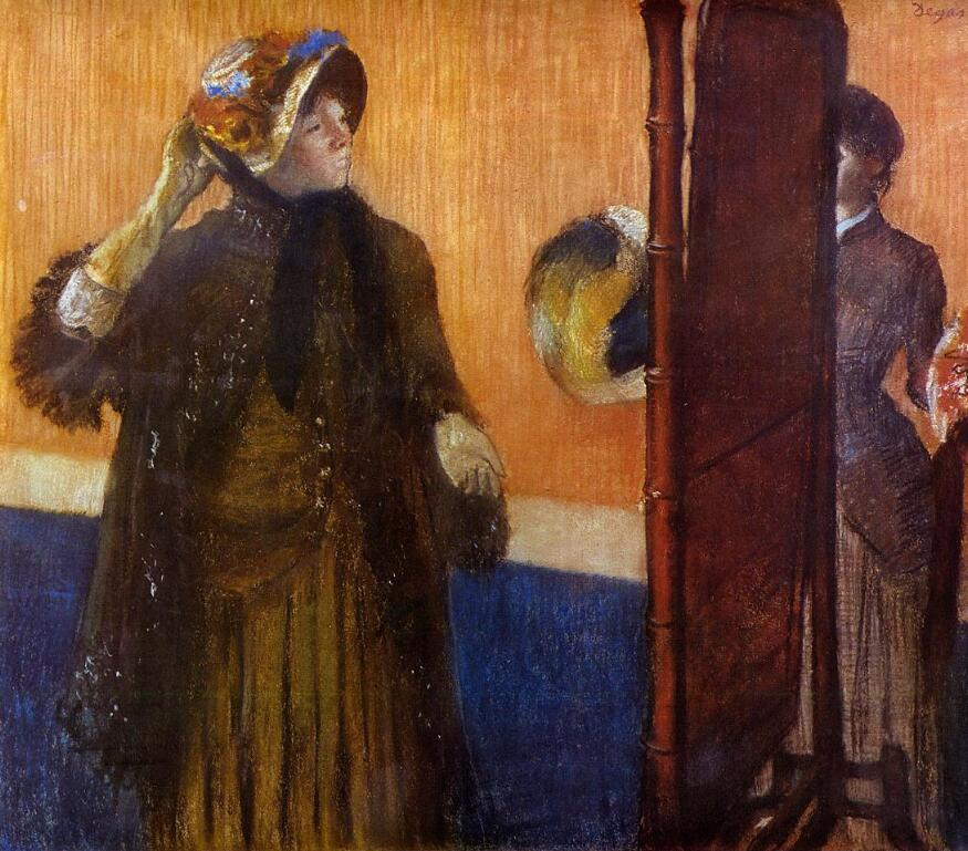High quality Oil painting Canvas Reproductions At the Milliners (1882)  By Edgar Degas hand paintedHigh quality Oil painting Canvas Reproductions At the Milliners (1882)  By Edgar Degas hand painted