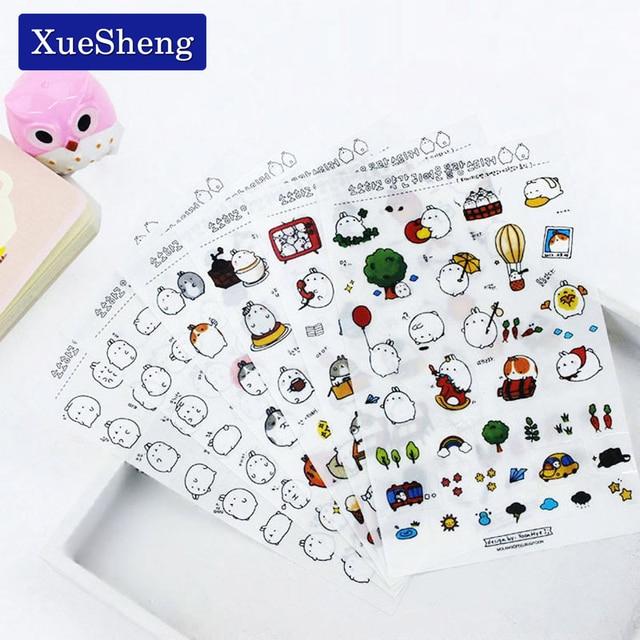 6 Unidades/pacote Coréia Meng Super Fofo Coelho Estúpido Yuangun Pet Adesivos Decorativos Diário Adesivos No Primeiro Trimestre