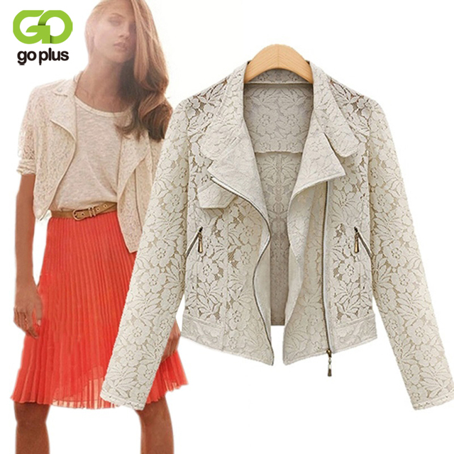 Goplus completo manga lace oco out jaqueta para as mulheres primavera Atumn Curto Casacos para Vestidos White Black Lace Zipper Outwear C0139