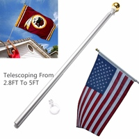 5Ft Telescoping 90cm 160cm Tall Hand Held Flag Pole Kit High Intensity Aviation Aluminum Alloy Tall Telescoping Flagpole