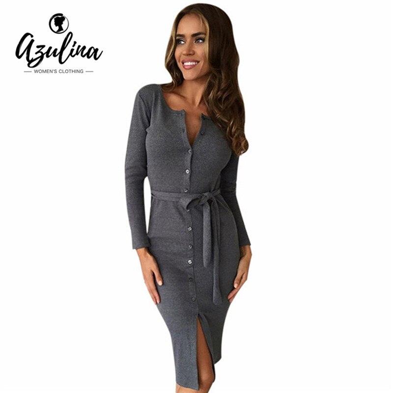 Azulina sexy bodycon midi dress dress party mujeres gris con cinturón de Algodón
