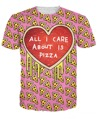 All I Care About is Pizza T-Shirt pink pizza with a cheesy heart 3d print sexy t shirt women casual tee men  tops plus size