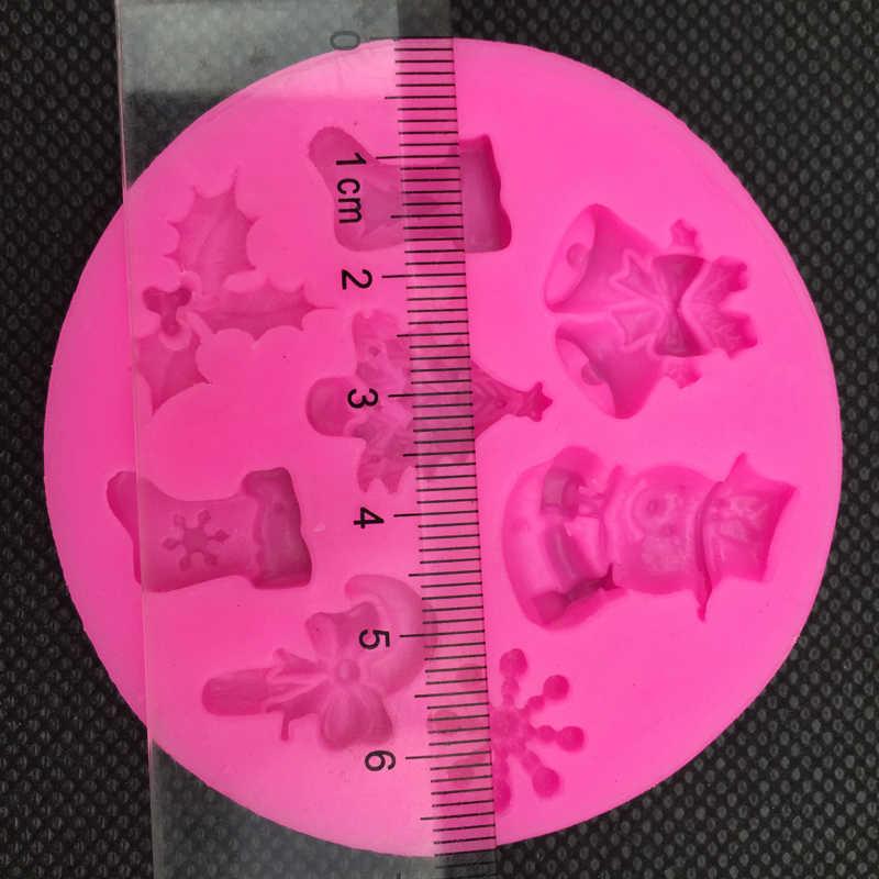 คริสต์มาส Snowman รูปร่าง fondant ซิลิโคน mold ครัวเบเกอรี่ช็อกโกแลต pastry candy Clay ทำ cupcake เครื่องมือตกแต่ง FT - 0130