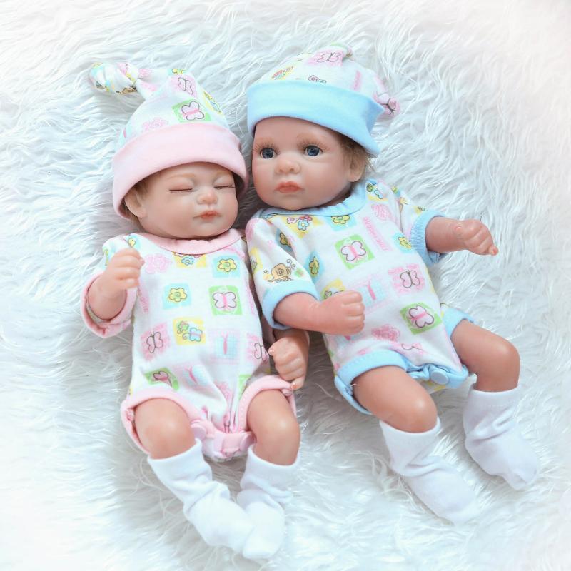 12 pouces Silicone Reborn Bébé Poupée de Couchage Bébé Poupées 1 Fille + 1 Bain Garçon Poupées Bebe Jouets Mohair Jumeaux cadeaux de noël Bonecas
