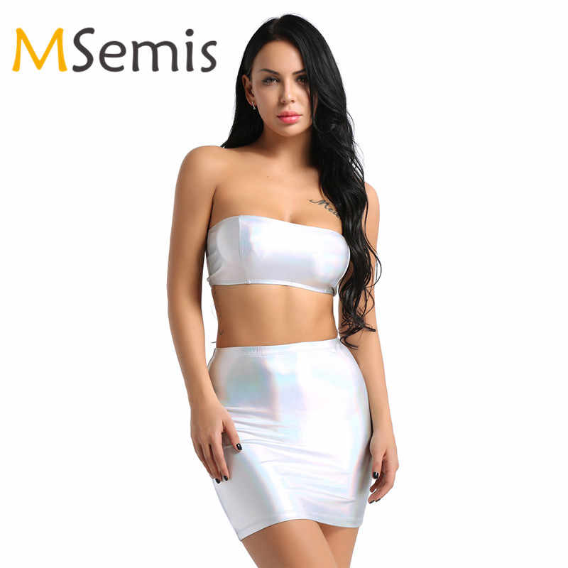 eed20cdbfd2 2Pcs Women Sexy Crop Top with Mini Bodycon Skirt Set Outfit Wet Look Faux  Leather Tops