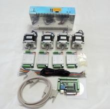 CNC Router Kit 4 Axis, 4pcs 1 axis TB6600 stepper motor driver+breakout board+ 4pcs Nema23 57HS56-3004 motor+ 24V power supply free shipping 1pcs stepper motor 4 lead nema17 48mm 78oz in 1 8a 17hs8401 motor with tb6600 stepper motor driver nema23 17
