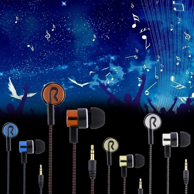 Metal Earphones Jack Standard Noise Isolating Reflective Fiber Cloth Line 3.5mm Stereo In-ear Earphone Earbuds