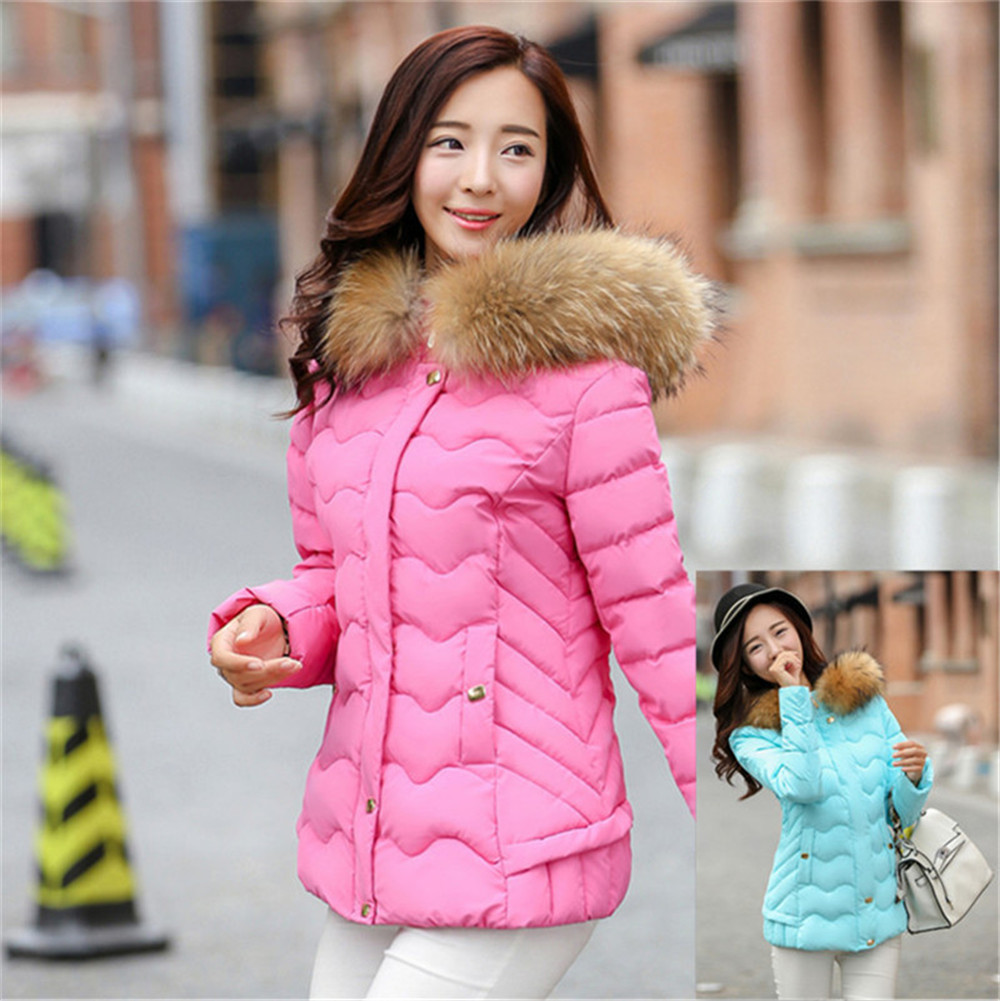 Popular Women Jackets Winter Coat Hooded Light Pink Parka-Buy
